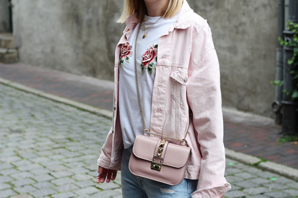Jeans jacke rosa